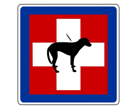 infirmary: Traffic sign for sick dogs Illustration