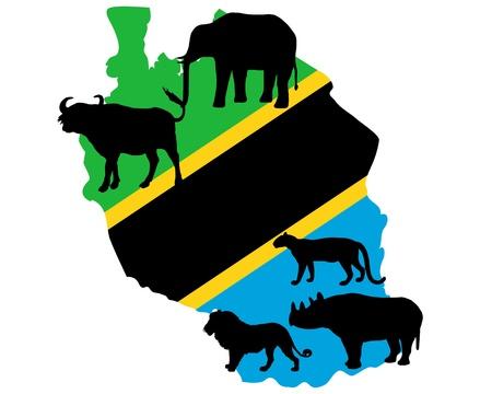 panthera: Tanzania cinque grandi Vettoriali