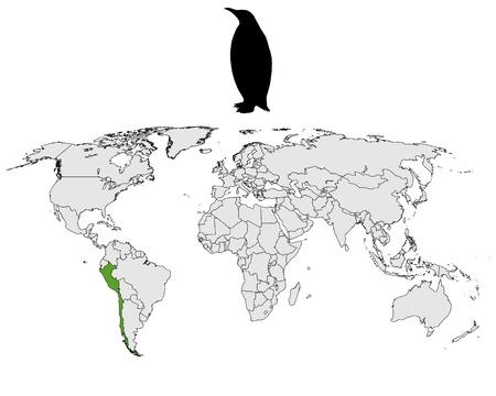 Humboldt penguin range Vector