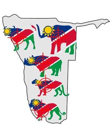 big five: Namibia cinque grandi attraversare le linee Vettoriali