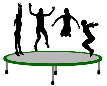 people having fun: Woman trampoline Illustration
