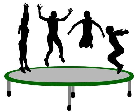 Woman trampoline Illustration