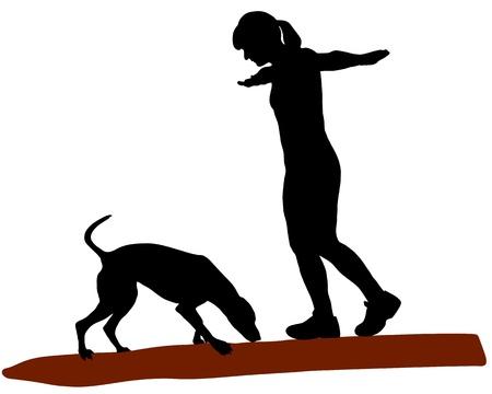 Woman and dog on log