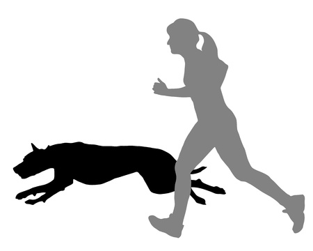 Woman jogs with dog Illustration