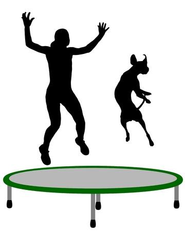 Vrouw en hond trampoline Stock Illustratie