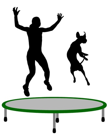 trampoline: Woman and dog trampoline Illustration