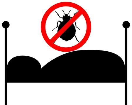ベッドにトコジラミの禁止標識  イラスト・ベクター素材