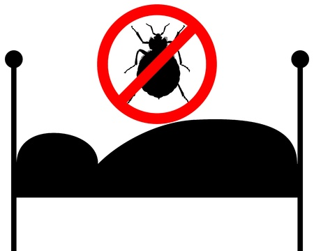 an insect: Prohibition sign for bedbugs in bed