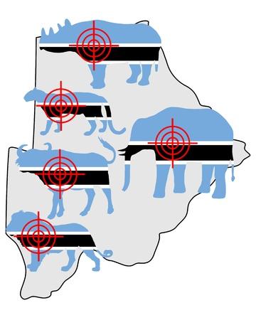 big five: Big Five cross hairs Botswana Illustration