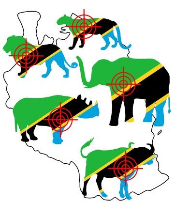 big five: Big Five Tanzania croce linee Vettoriali
