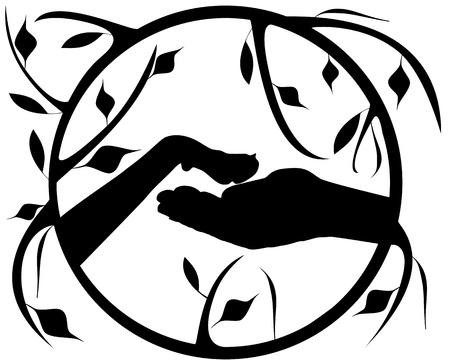 patas de perros: La pata en la mano Vectores
