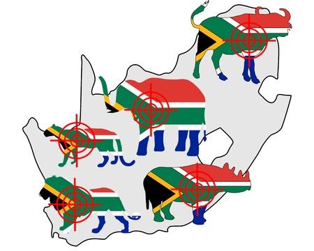 big five: Big Five Sud Africa attraversare le linee Vettoriali