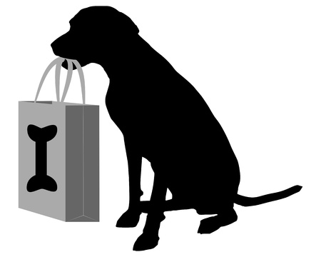 white paper bag: Dog shopping bones