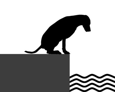 Dog at the shore Stock Vector - 17301241