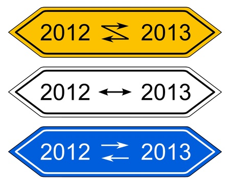 turn of the year: Direction sign turn of the year Illustration