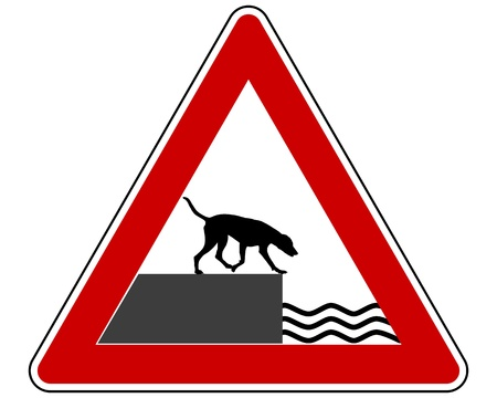 Road ending warning sign for dogs Stock Vector - 17374699