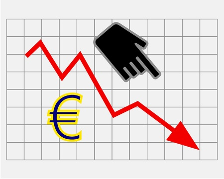 Declining equity price of euro Stock Vector - 17374697