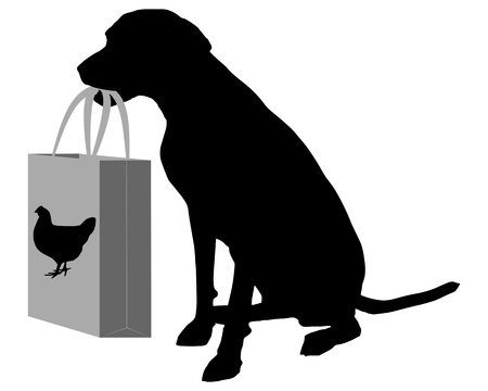 Dog shopping chicken Vector