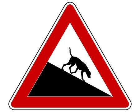 uphill: Slope warning sign for dogs Illustration