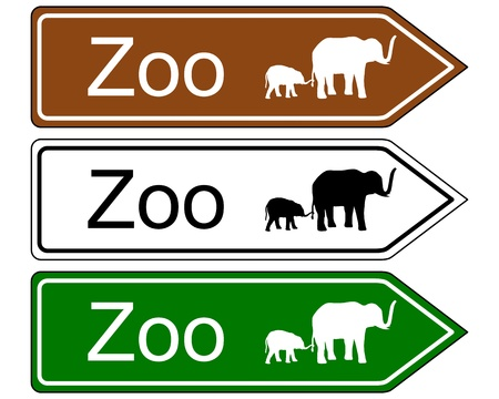 illustration zoo: Direction sign zoo