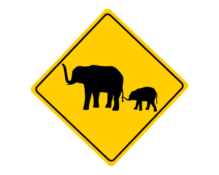 afrika: Elephants warning sign Stock Photo