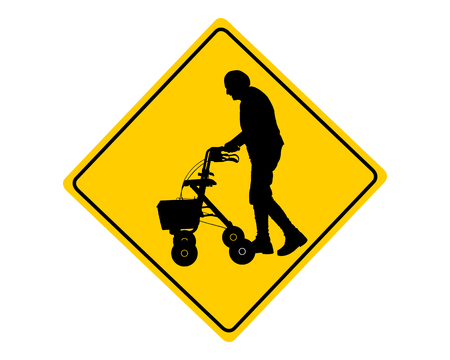 People with rollator warning sign photo