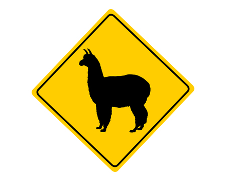 Alpaca warning sign photo