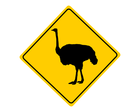 ratite: Ostrich warning sign