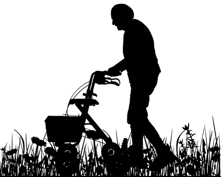 Old woman with walking frame Illustration