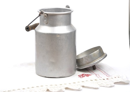 Milk can open Stock Photo