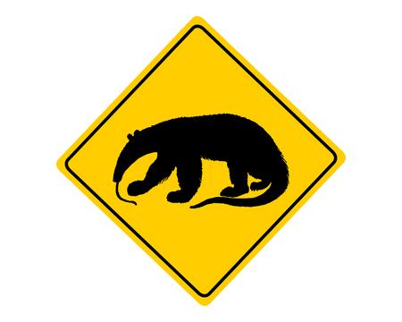 anteater: Anteater warning sign Illustration
