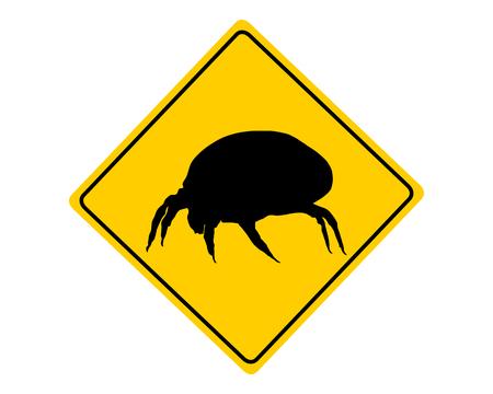 Huisstofmijt waarschuwingsbord Stock Illustratie