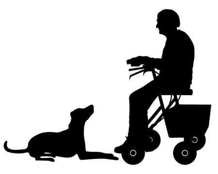 dog walker: Old woman with dog Stock Photo