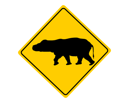 Hippo warning sign Vector