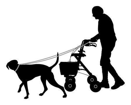 dog walker: Old woman with dog Illustration