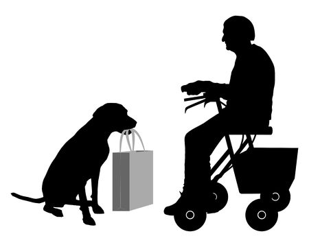 Old woman with dog Illustration