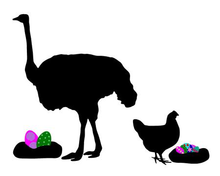 poult: Gallina y avestruz con huevos de pascua