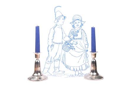 candleholder: Candleholder and linen