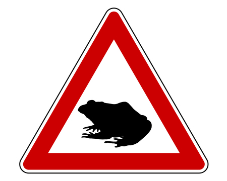 bufo bufo: Toad migration warning sign