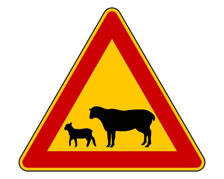 sheep road sign: Sheep flock warning sign