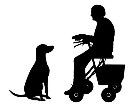 alte frau: Alte Frau mit Hund