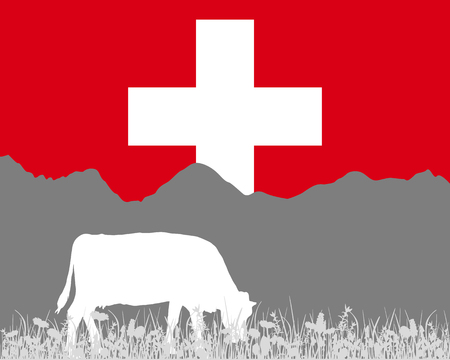 swiss flag: Cow alp and swiss flag