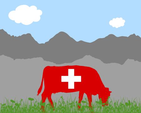 alpes suizos: Alp vaca y bandera suiza