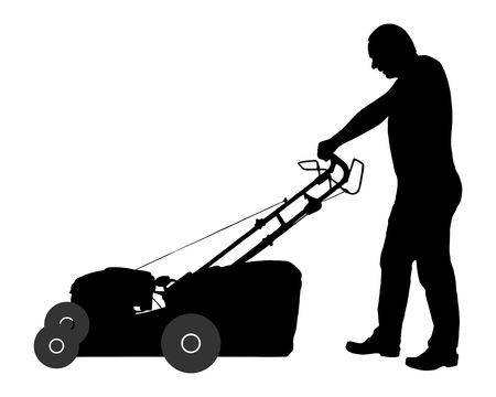 push mower: Man with lawn-mower