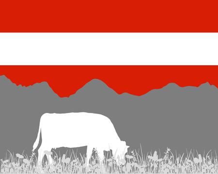 Cow alp and austrian flag