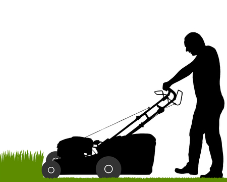 lawn mowing: Man with lawn-mower