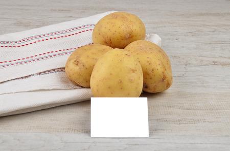 describable: Potatoes and card