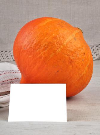 describable: Pumpkin and card Stock Photo