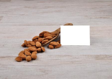 describable: Almonds on shovel Stock Photo