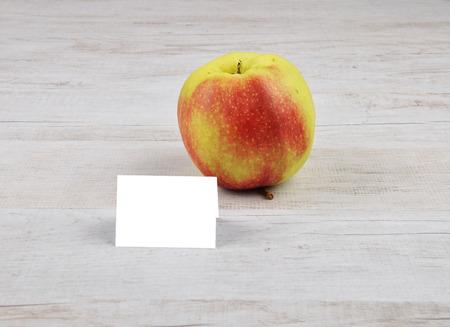 describable: Apple and card Stock Photo